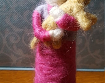 Old Woman Holding Her Cat Needle Felted Figure