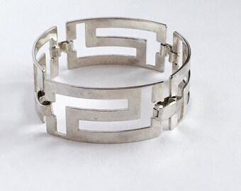 Vintage Greek Key silvertone cuff bracelet