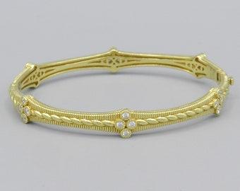 JUDITH RIPKA 18K Yellow Gold .96ct t.w. DIAMOND Bangle Bracelet  6-3/4