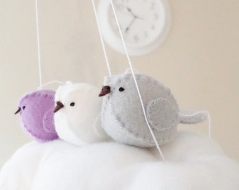 Baby mobile - lilac and grey nursery decoration