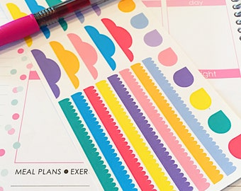 28 Assorted Banner Planner Stickers- Daily Banner, Weekend Banner and Teardrop Stickers- perfect in your Erin Condren, calendar or scrapbook