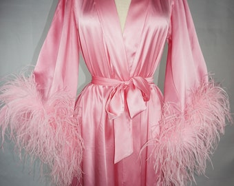 Hollywood Royalty Silk and Ostrich Feather Robe