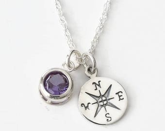 Compass Necklace Sterling Silver with June Birthstone / High School Graduation Gifts for Daughter Granddaughter