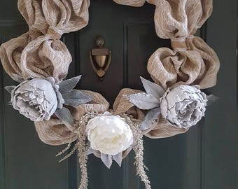 Exquisite Lace Burlap Wreath for all Weather
