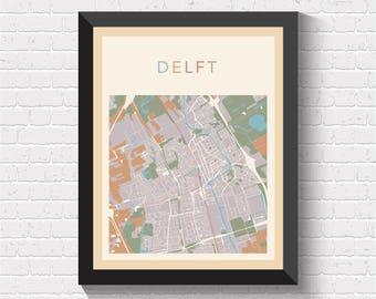 Delft Map, Delft Poster, Delft Print, Map of Delft, Delft Street Map, Delft City Map, Delft Art, Delft Map Print, Delft, Netherlands