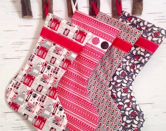 Made to Order - Set of Four Modern Christmas Stockings in Red, Black and White