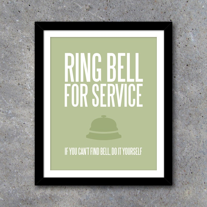 Ring Bell For Service Wall Art Laundry Room Art Kitchen