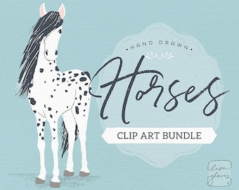 Horse clip art digital download perfect for horse art, horse lover gift and pet art prints
