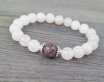 Pink quartz stones bracelet 8mm with lepidolite 10mm silver hats