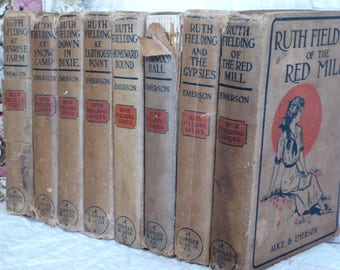 EIGHT Ruth Fielding Books by Alice Emerson, Eight Ruth Fielding Hard Back Books, Antique Alice B Emerson Ruth Fielding Books 1913-1919