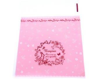 lot 10 sachet gift bag pink rabbit wrapping transparent sticker Hello 11x10cm