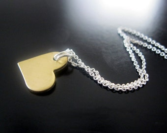 Tiny heart, BIG love ... brass and sterling silver necklace...personalized if you'd like