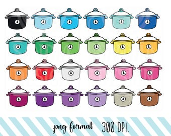 24 Doodle Crockpot Clipart. Personal and comercial use.