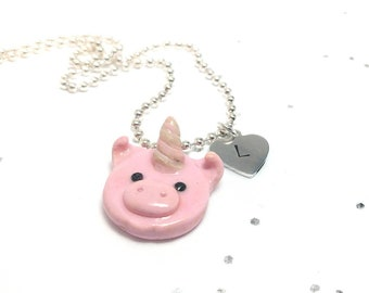 Pig jewelry, Pig necklace, Girl necklace, Personalized girl, Animal necklace, Cute pigicorn, pig gift idea, Unicorn pig, Pigicorn necklace