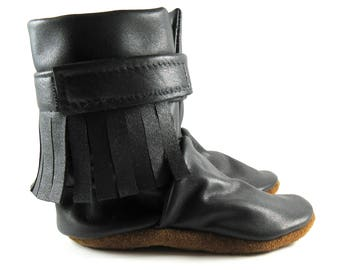 12 to 18 Month, Soft Sole, Black, Reclaimed Leather, Baby Boots, High Top Moccasins