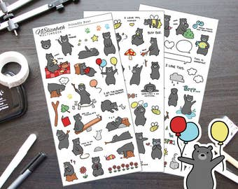 Friendly Bear - Diary Stickers - Planner Stickers