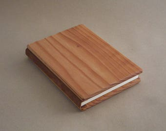 """Wood Journal, Diary, Sketch book, 6"""" x 8"""" , Leather Bound with 50 blank sheets (100 pages)."""