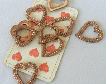 Vintage Hearts, Brass Heart Findings, Heart Charms, Heavy Hearts, 4 Pcs