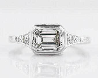 Engagement Ring Modern 1.30 Emerald Cut Diamond in 18k White Gold