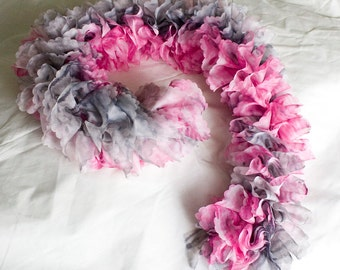 Hand knitted pink and grey frilly scarf - the perfect accessory for both cold winter days and for summery chic!