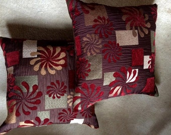 Vintage Set of two burgandy  wine square decor flowers pillows