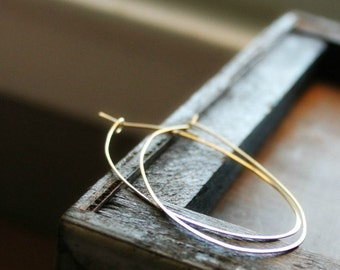 Gold Filled Oval Hoops, Hammered Big Hoop Earrings, Organic Oval Earrings, Thin Gold Hoops