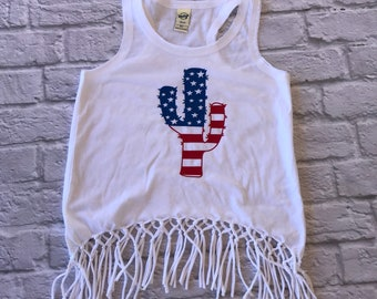 Girls fringe top - desert top - saguaro shirt - desert child - 4th of july shirt - kids fourth of july - american made