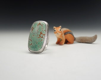 Sterling Silver and Variscite Ring, Turquoise Green Stone Ring, Handcrafted