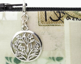 Floral zipper pull charm - antique silver finish flower charm for purses, jackets, and clothes