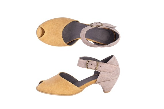 handmade sandals Yellow yellow Sale pumps Toe leather shipping free sandals On Peep Women's ADIKILAV and gray CwXwzqf