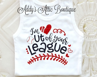 I'm Out of Your League Tank Top, Baseball Shirt, Baseball Sister, Toddler Baseball Shirt, Glitter Baseball Shirt, Baby Girl Shirt