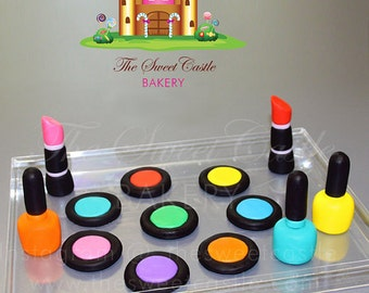 Edible 13 Piece Makeup Glamour Package Fondant Cake/Cupcake Toppers