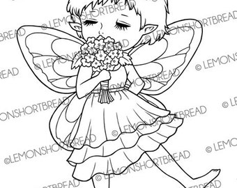 Digital Stamp Smell the Flowers Pixie, Fairy Digi Download, Clip Art, Cute Floral Nature, Summer Fantasy, Scrapbooking Supplies