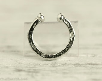 Fake Septum Ring Piercing Nose Ring Body Jewelry Silver Bohemian Fashion Indian Style 14g - SE010F SS G1