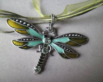 x 1 oganza necklace + pendant Dragonfly green strass 44 x 7 cm/7 x 14 cm