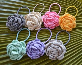 New for 2016 // Crochet Camellia Hair Elastic // Crochet Flower Hair Tie // Handmade Crochet Flower Ponytail Holder