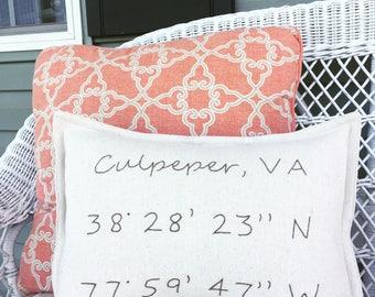 latitude longitude  cushion, handmade embroidery pillow, farmhouse decor, bedroom, housewarming gift, wedding gift, latitude longitude