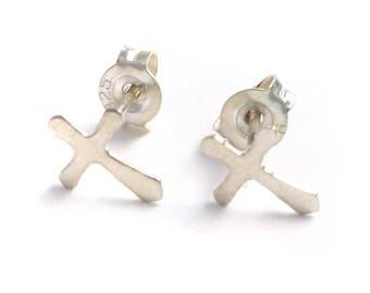 Small cross earrings 925 sterling silver