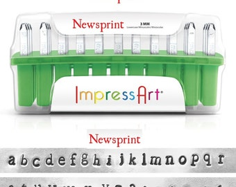 "NEWSPRINT - LOWERcase Typewriter font - steel letter stamps - 1/8"" (3MM) size - includes 7 Bonus DESIGN stamps"