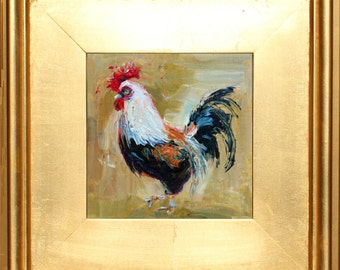 """Rooster, Oil Painting Portrait, Original Rooster Oil Painting,  Chicken Painting Chicken Art, small painting 6""""x6""""  in Gold Frame  Gift Item"""