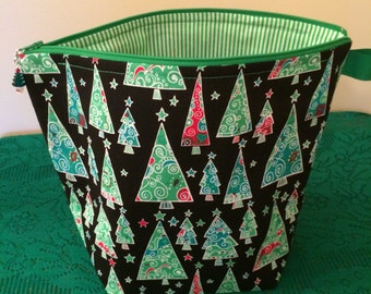 Christmas Scrolly Trees -Large Project Bag