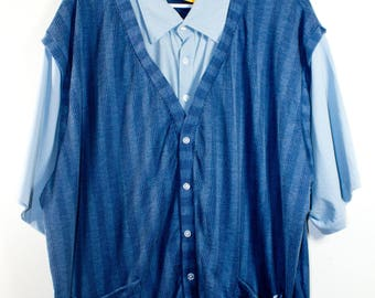 VTG RETRO SHIRT ϟ Blue Toned 2 in 1 Collared Button Up Shirt & Vest Combo   Plus Size Vintage