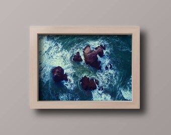 Sea rocks oil painting, Digital download, printable painting