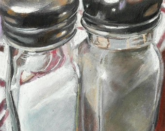 "Kitchen art, dynamic super realism style, fine art digital print of original pastel,  Salt & Pepper, by artist Vernon Grant, 11"" x 14"""