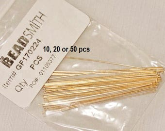 HEADPINS 24 Gauge 14KT Gold Filled Headpin 2 Inches, Beadsmith (10, 20 or 50 pieces)