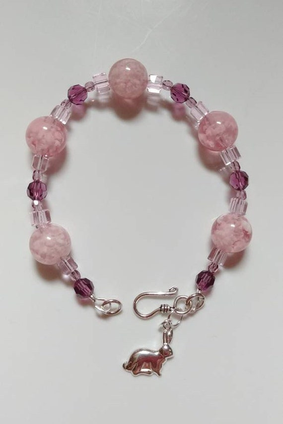 Pink and Purple Beaded Bracelet with Bunny Charm