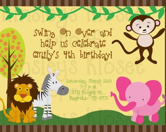 Jungle Party Invitation - Jungle Birthday Party Invitation - Safari Baby Shower Invitation -Safari Party Printable - Jungle Baby Shower