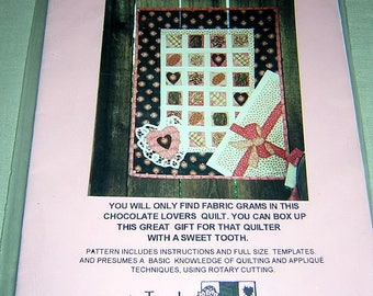 "Pattern to make Pieced and Appliqued ""A BOX OF CHOCOLATES)  Wall hanging and Chocolate Therapy book"