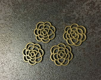 4 bronze color, rustic, Bohemian flower charms
