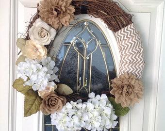 Front Door Wreath, Rustic Wreath, Burlap Wreath, Year Round Wreath